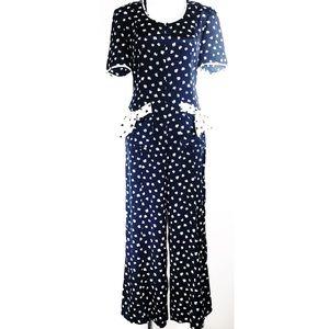 Vintage Liz Claiborne Hearts Jumpsuit romper M-L